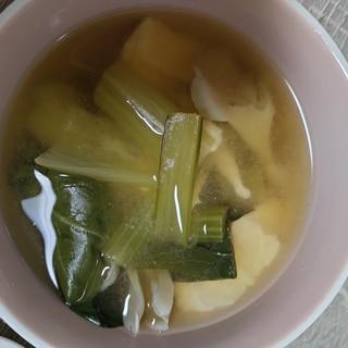 小松菜と舞茸、豆腐のお味噌汁
