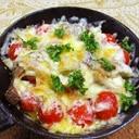 グリルパンで、マイタケプチトマト椎茸のチーズ焼き