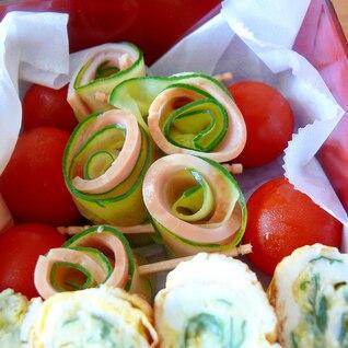 お弁当の彩りに☆きゅうりとハムのロール