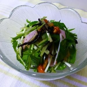 野菜とひじき、ハムのなめこの醤油漬け和え