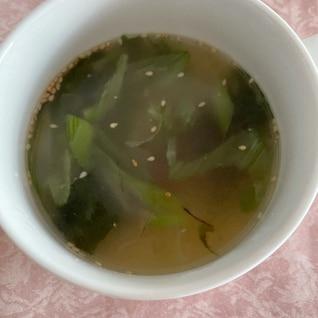 わかめとネギのあっさり中華スープ