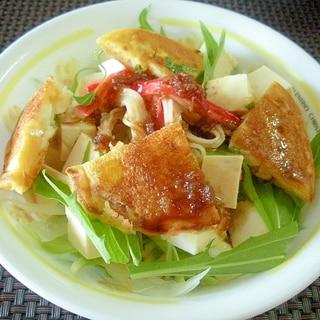 豆腐と水菜とカニカマ&大豆粉パンケーキサラダ♪