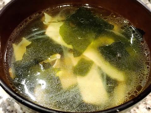 ハム*コーン*わかめ入り春雨スープ