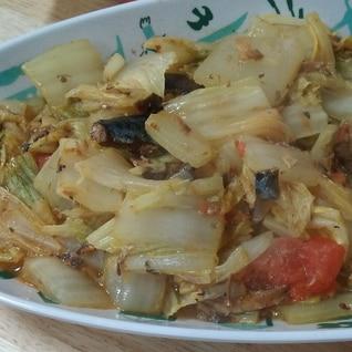 鯖缶で白菜炒め