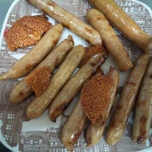 いかみりん煎餅とウィンナーのマヨ炒め