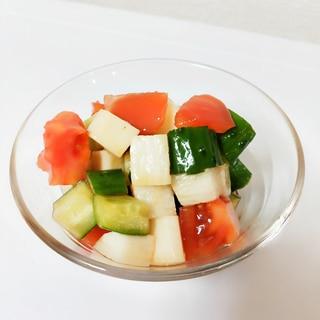 トマト・きゅうり・長芋のわさび醤油ドレッシング