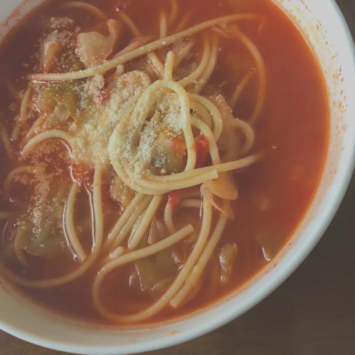 簡単に作れる☆トマトスープパスタ