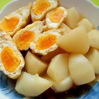 卵巾着とカブの煮物