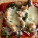 ツナとしめじ、ピーマンの油揚げピザ