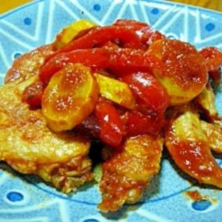 手羽先、ズッキーニ、パプリカのトマトソース煮込み
