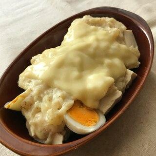 塩豆腐とゆで卵の胡麻グラタン