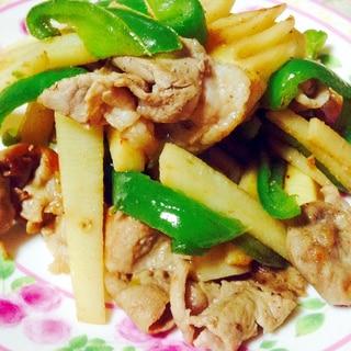 豚肉と筍とピーマンのオイスターソース炒め❤︎