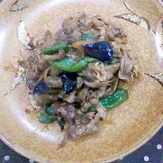 牛肉とピーマン、なすの炒め物