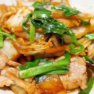 豚と白菜とニラの味噌オイスター炒め