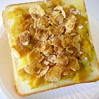 シナモン風味☆ さつま芋&コーンフレークトースト♪