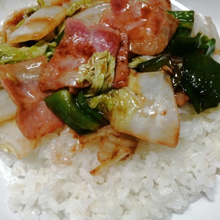 ベーコン白菜ピーマンオイスターソース丼