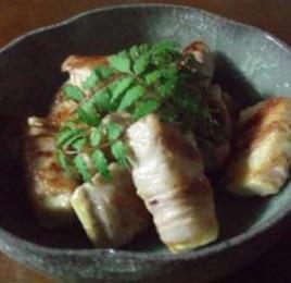 竹の子の肉巻き