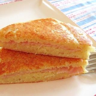 ハムとじゃがいもの朝食パンケーキサンド♪