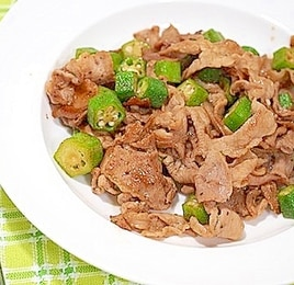 オクラと豚肉のポン酢炒め