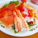 いくらと海老とタコとサーモンのちらし寿司