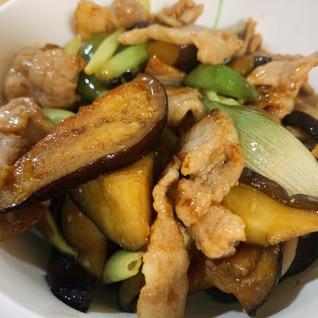 豚肉とナスとミョウガの炒め物
