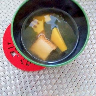 素朴♪筍と厚揚げわかめの味噌汁