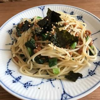 小松菜と海苔たっぷり納豆パスタ