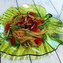 さっぱり♪ひんやり♪アジとトマトと水菜の冷製パスタ