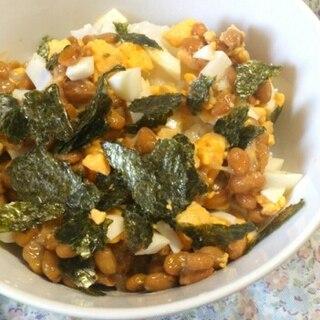 離乳食完了期☆ゆで卵と海苔の納豆ご飯