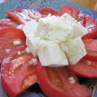 玉ねぎドレッシングでトマトと豆腐のヘルシーサラダ