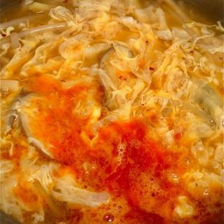 残った麻婆豆腐でリメイク酸辣湯スープ