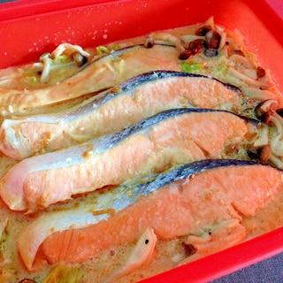 シリコンスチーマーで☆鮭の味噌マヨちゃんちゃん蒸し