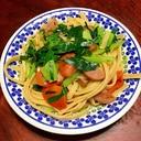 韮と小松菜とトマトとソーセージのフィットチーネ