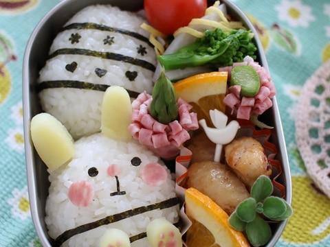 イースターキャラ弁*卵型オニギリでバニー&エッグ