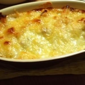 レンジで簡単ホワイトソース☆カボチャの豆乳グラタン