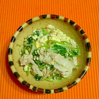 三つ葉と豆腐の塩チャンプルー♪
