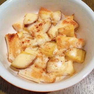 パンの耳とさつまいものチーズ焼き