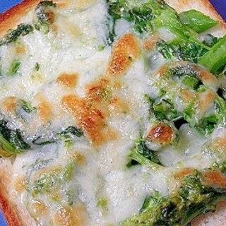 菜の花のカレーマヨチーズトースト
