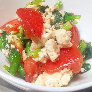 中華風ダレが決め手!小松菜とトマトの豆腐サラダ