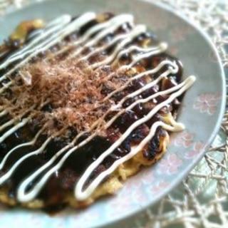 もっちり✩満腹✩春キャベツ✩残りご飯でお好み焼き2
