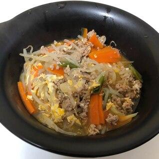 【簡単】豚ひき肉ともやしの具沢山スープ