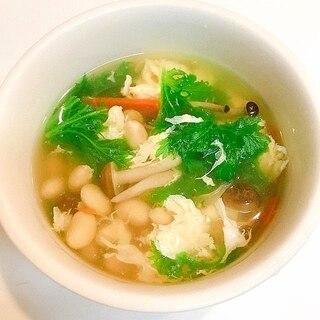 人参としめじと大豆の♪コンソメ卵スープ