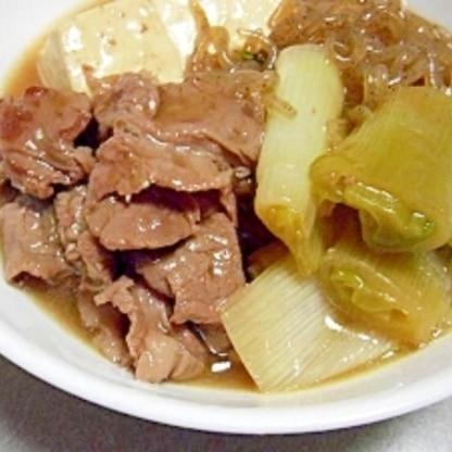 簡単♪牛肉と豆腐のすきやき風煮込み♪