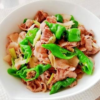簡単おつまみ♪甘長唐辛子と豚肉のニンニク炒め