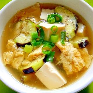 豆腐と茄子の卵スープ