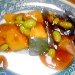 かぼちゃ&なす&枝豆のオイスター餡かけ