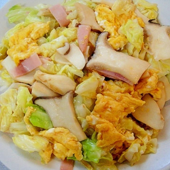キャベツとエリンギの卵炒め