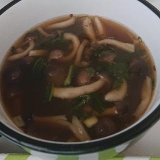 しめじとヨモギの簡単スープ