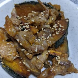 かぼちゃと豚肉の味噌炒め