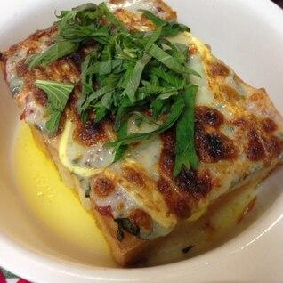 トースターで簡単☆節約☆厚揚げの梅しそチーズ焼き!